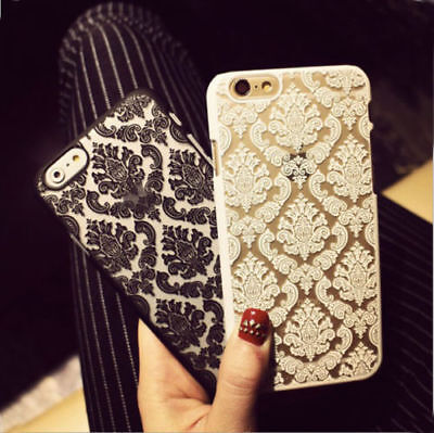 Lace Damask Matt Back Hard Case Cover For iPhone 6 Plus For Samsung Galaxy S7/8