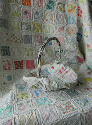 White Woven Basket w/ Vintage Cathedral Quilt Lining, One of a Kind, Multicolor