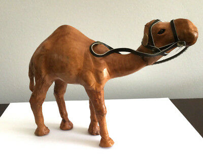 VTG CAMEL FIGURINE, LEATHER WRAPPED w/GLASS EYES/BRIDLE,  REALISTIC, VGC!