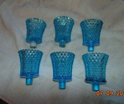 Lot 6 Diamond Cut blue pointed Home Interior Votive Cup HOMco glass candleholder