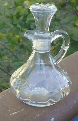 Lovely Vintage Oil & Vinegar, Syrup, Honey or Sauce Bottle with Stopper & Handle