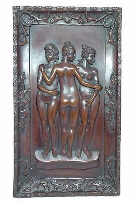 Classical Greek Goddess Three Graces Resin Plaque Sculpture Nude Borghese Louvre