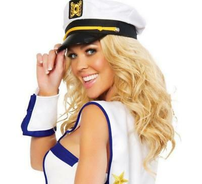 Men & Women's White Yacht Captain Skipper Sailor Boat Cap Costume Hat LI