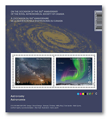 2018 Canada Astronomy Souvenir Sheet 2 Stamps Royal A. S. Science Space Aurora