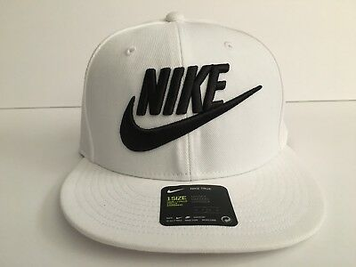 bf4d6fab28e Nike Futura True 2 White Black Snapback Hat Big Logo Mens NEW! 584169 100