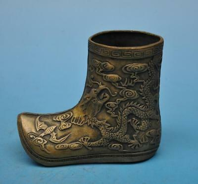 chinese old copper hand-carved dragon boot /xuande mark d01
