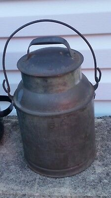Vintage 6 QT Aluminum Milk Cream Dairy Pail Can with Lid Wood Handle and Bail