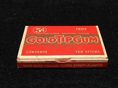 Vintage Gold Tip Gum Fruit Chewing Gum Full Pack with 10 Sticks Sterling Mint Co