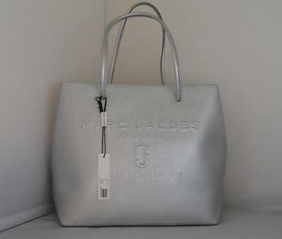004ead6375a0 AUTH NWT Marc Jacobs Logo Shopper East West Metallic Leather Tote Bag In  Silver
