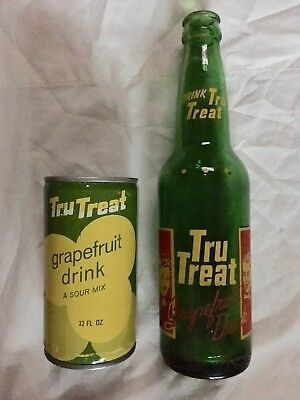 Lot 2 ORIGINAL TRU TREAT GRAPEFRUIT DRINK Bottle & Tin Can Soda Pop Collectible