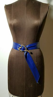 vintage 1980s blue leather belt gold heart buckle pearl accessories