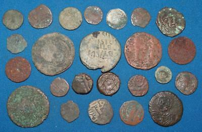 24 Ancient EGYPTIAN/ROMAN Bronze DUG-EXCAVATED COINS Lot
