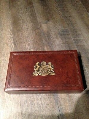 Wooden Box With Leather Looking Cover With Insignia