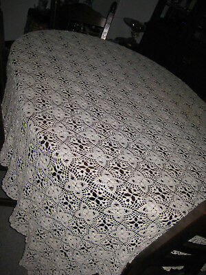 Vintage large banquet size handmade  lace and embroidered tablecloth 160 X 116