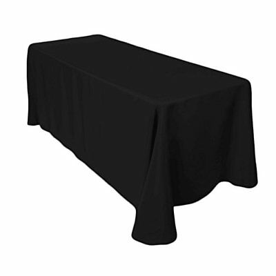 Lot of 4 Black Linen Tablecloth 90 X 132 In. Rectangular Polyester (6' tables)