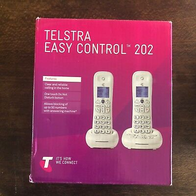 TELSTRA EASY CONTROL 202 CORDLESS PHONES  - Brand new in box