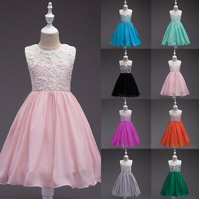 Flower Girls Princess Dress Kids Wedding Party Pageant Lace Dresses Gown 3-14Y