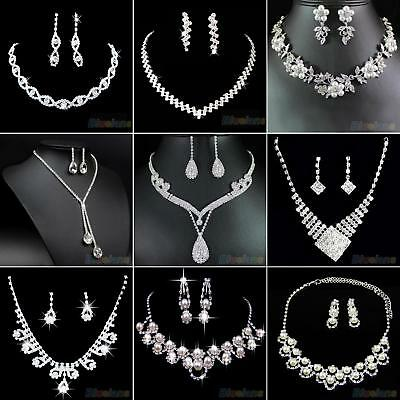 Simple Bridal Wedding Party Jewelry Set Crystal Rhinestone Necklace & Earrings