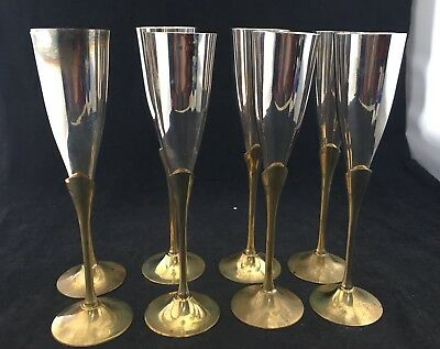 Set Of 8 CHAMPAGNE WINE FLUTES LONG STEM MADE IN INDIA SILVER PLATE BRASS