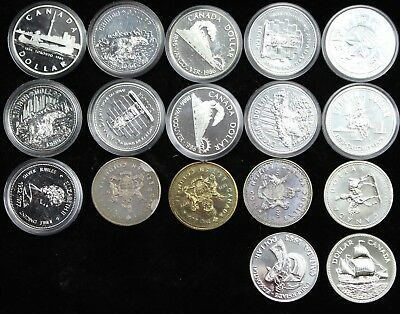 17x Canadian 50% Silver Dollar BU Lot Mixed Date PL Canada Collector Coins P3R