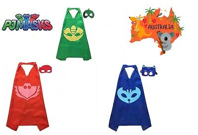 Kids Gift Superhero 4pcs PJ Masks Cosplay Cape Cuff Mask Costume Accessory Party