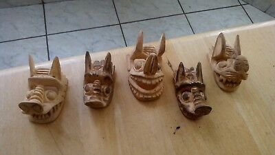 Rare- Set of 5 Mini Bat Wooden Masks Hand Carved