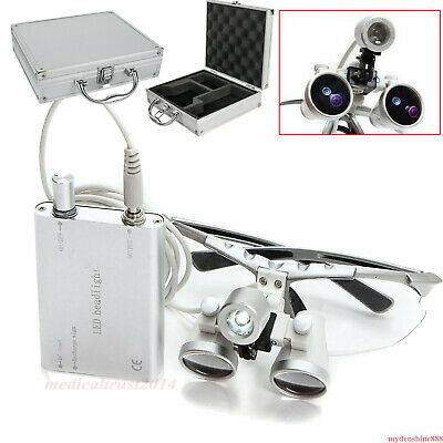 3.5X Dental surgical Binocular Loupes w head Light lamp +metal Box silver suit