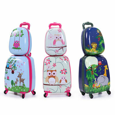 2 Pcs Children Travel Trolley Hard Shell Suitcase School Bag Kids Luggage Set