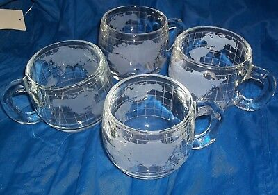1970's SET of 4 (FOUR) Nestle Nescafe Glass World Globe Mugs 8 Oz / 3in Tall