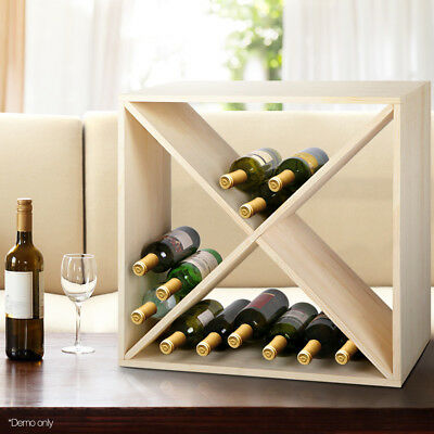 24 Bottle Timber Wine Rack Wooden Storage Cellar Vintry Organiser Stand @SAV