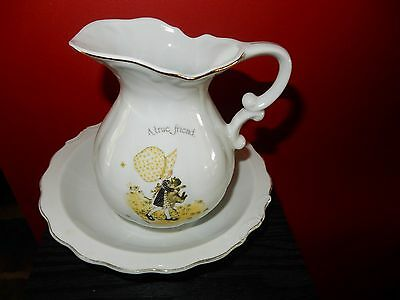 Vintage Holly Hobbie A True Friend Is The Best Possession Medium  Jug and Bowl