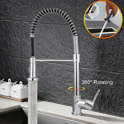 New Monobloc Pull Out Brass Kitchen Sink Mixer Tap Spray Faucet Swivel Spout UK