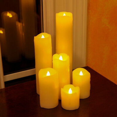 6 Large Wax LED Flickering Candle Lights Dancing Flameless Dripping Melting Mood