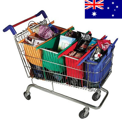 4pcs Reusable Shopping Bags For Cart Grocery