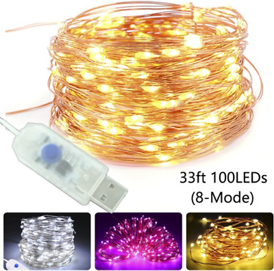 10M USB Charge 50/100LED String Copper Wire Fairy Light Wedding Xmas Party Decor