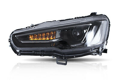 LED Headlight For Mitsubishi Lancer EVO X 2008-2017 DRL All Black Set Audi Look