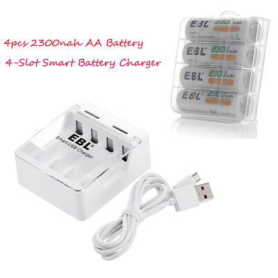 4x 2300mAh AA Rechargeable Battery 1.2V R6 Ni-Mh Batteries +4-Bay AAA/AA Charger