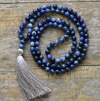 8mm Natural Sodalite blue 108 Beads Mala Tassels Necklace meditation