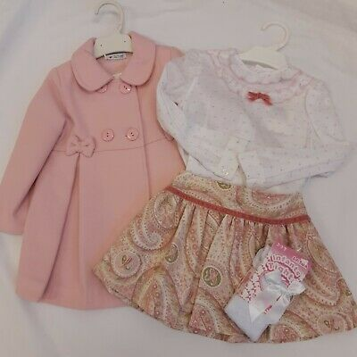 BNWT Spanish Coat & 2 piece Skirt / Blouse paisley Set & tights 2 years - Alber