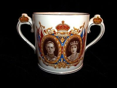 1937 Radfords Coronation King George Vi Loving Cup With Gold Crown Handles