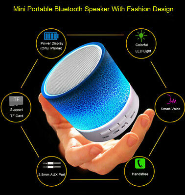 LED Portable Mini Bluetooth Wireless Speaker Bass W/TF FM Radio For Smart Phone