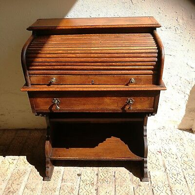 Antique Edwardian Oak Roll Top Bureau