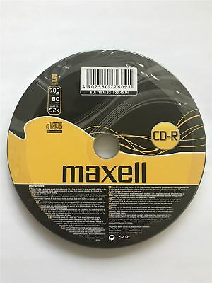 Maxell CD-R 80 Minutes 700MB 52X Speed Recordable Blank Discs - 5 Pack Shrink