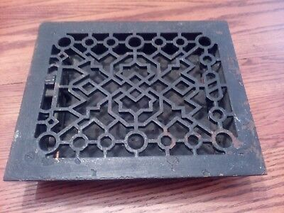 Ornate Antique Cast Iron Louvered Heat Floor Grate 11 1/4 X 9 1/2