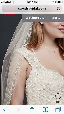 David's Bridal 1 tier elbow length veil with swirl embroidered beading