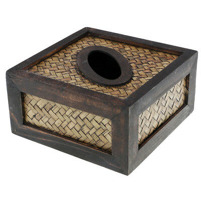 Wooden Tissue Box Cover Pumping Paper Hotel Car Home Napkin Holder Case #D