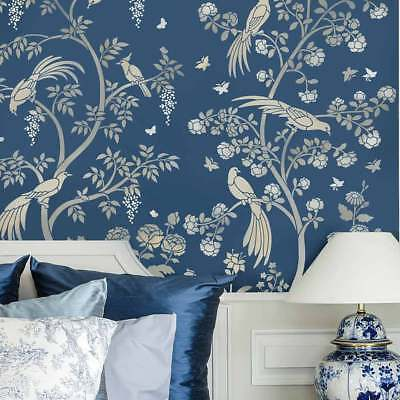 Birds and Roses Chinoiserie Wall Mural Stencil - DIY Asian Garden Decor