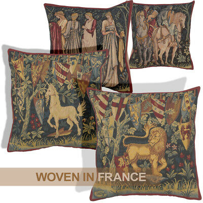 French Tapestry Throw Pillow Cover 18x18 Unicorn Lion Morris Medieval Woven