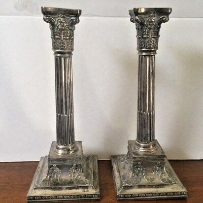 Antiques, Candle Sticks,Pair,Silver Plate, Corinthian,signed,c1890,United States