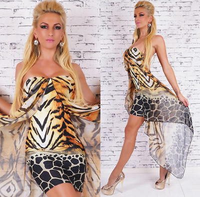 Ladies Sexy Party leo print mini Yellow Dress with padded bust One Size UK 8/10